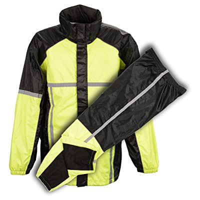 Milwaukee Performance Men's Water Resistant Rain Suit with Reflective Tape (Neon Green, X-Small): Automotive