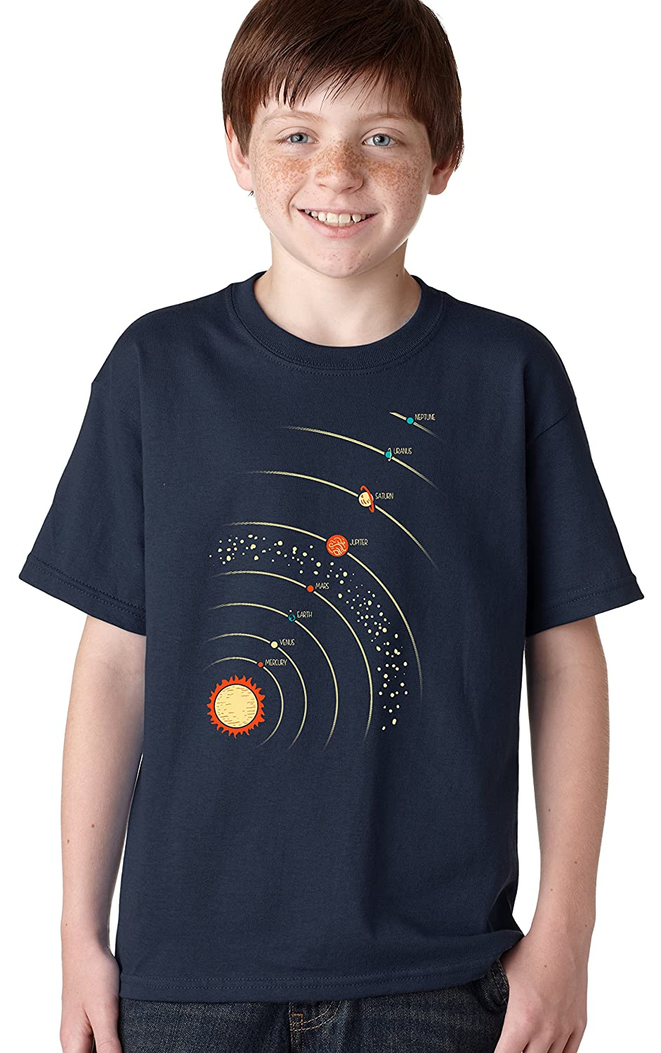 Youth Planets With Sun T Shirt Cool Solar System Outerspace Tee For Kids Crazy Dog Tshirts