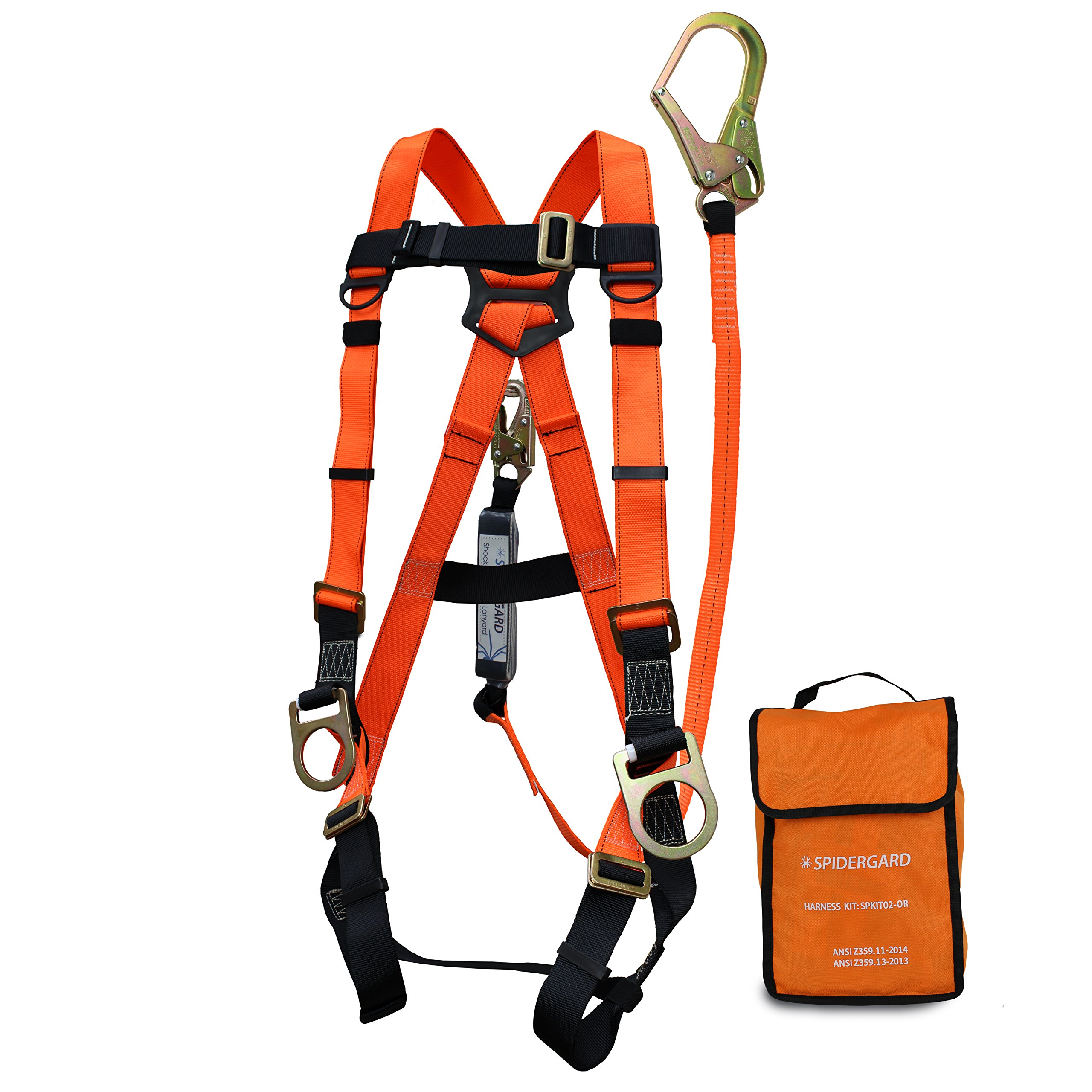 Spidergard SPKIT02 Three D-Ring Full Body Fall Protection Safety Harness Combo with 6ft Shock Absrober Rebar Hook Lanyard (Orange, L-XL)