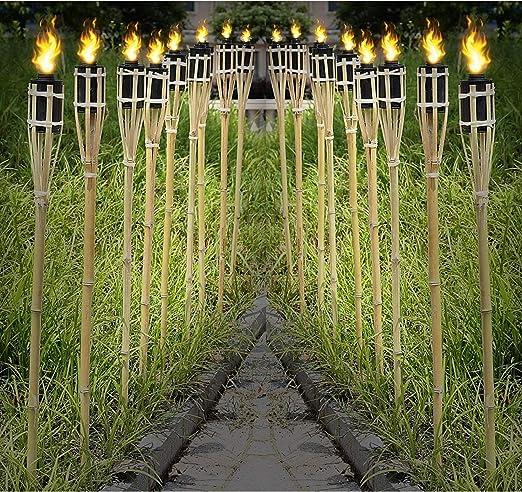 12 antorchas de bambú – Antorcha de jardín 120 cm madera colores con mecha & Tank Antorchas de bambú de jardín Decoración Antorcha Antorchas de jardín boda Decoración Aceite: Amazon.es: Jardín
