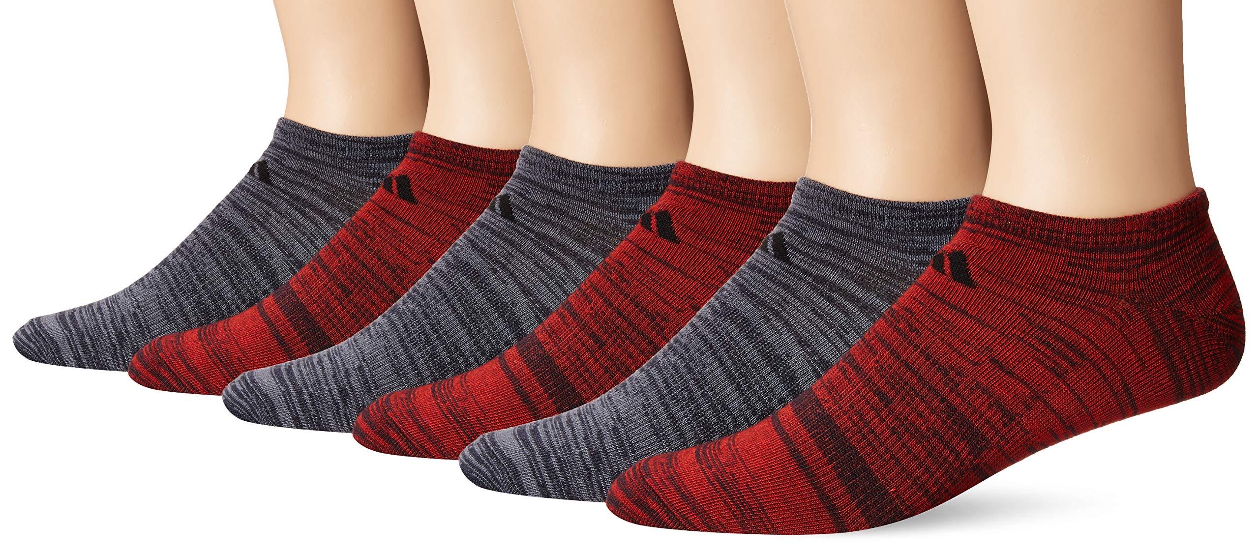 adidas Men's Superlite Low Cut Socks (6-Pair), Legend Ink Blue - Active Red Space Dye/Black Legend, Large, (Shoe Size 6-12) by adidas