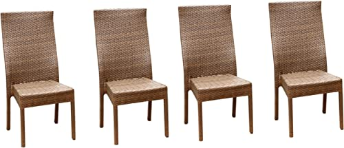 Abbyson Living Palermo Outdoor Wicker Dining Chair, Brown, Set of 4