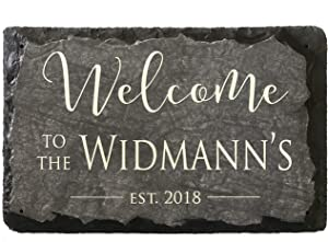 """Sassy Squirrel Beautifully Handcrafted and Customizable Slate Home Address Plaque (12""""x8"""" or 16""""x10"""") Personalized House Sign with and mounting Hardware. Improve The Curb Appeal of Your Property"""
