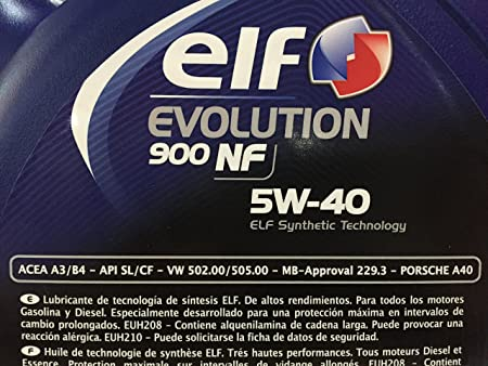 Aceite de Motor Elf Evolution 900 NF 5 W-40, 5 l: Amazon.es: Coche y moto