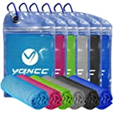 """YQXCC Cooling Towel 4 Packs (47""""x12"""") Microfiber Towel Yoga Towel for Men or Women Ice Cold Towels for Yoga Gym Travel…"""