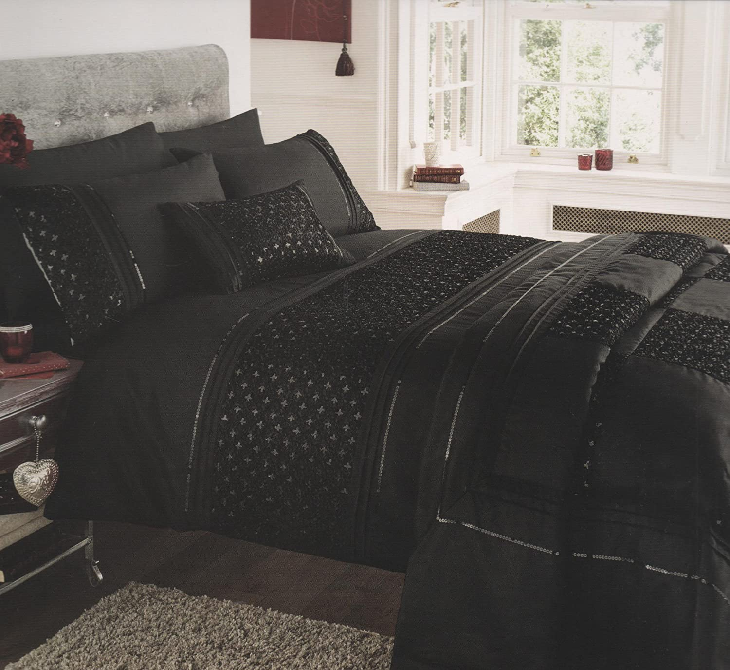 Luxurious Petra Black Duvet Cover Set - King Size - Embellished ... : king size bed quilt cover sets - Adamdwight.com