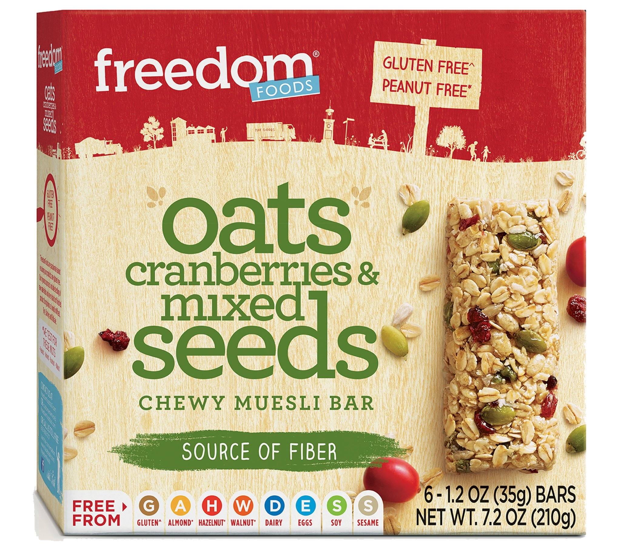 Peanut Free Oats Cranberries & Mixed Seeds Chewy Muesli Bar 7.2oz by Freedom Foods