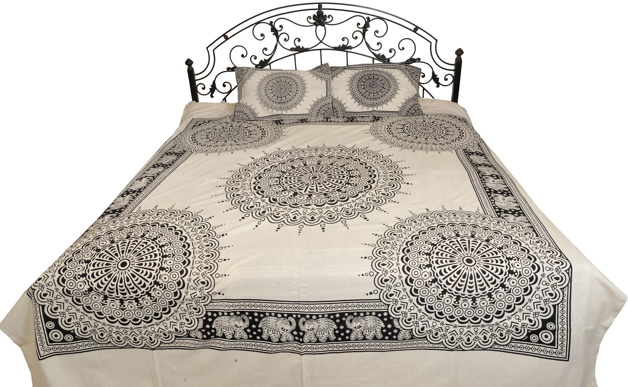 White and Black Bedsheet with Printed Chakras - Pure Cotton with Pillow Covers