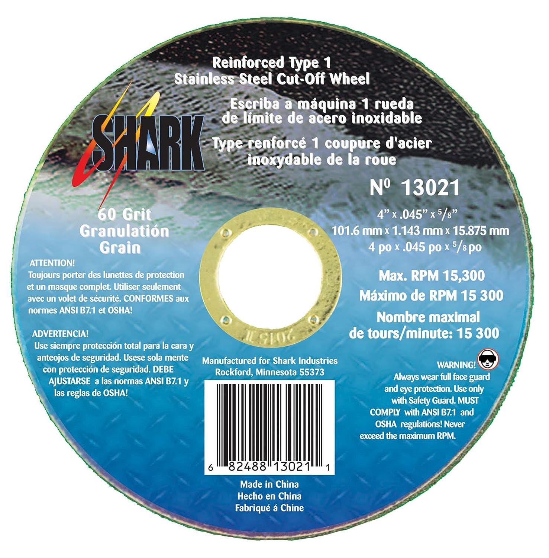 10-Pack Shark Welding 13021 Shark 4-Inch by 0.045 by 5//8-Inch 60-Grit Type 1 Ss Cut-Off Wheel