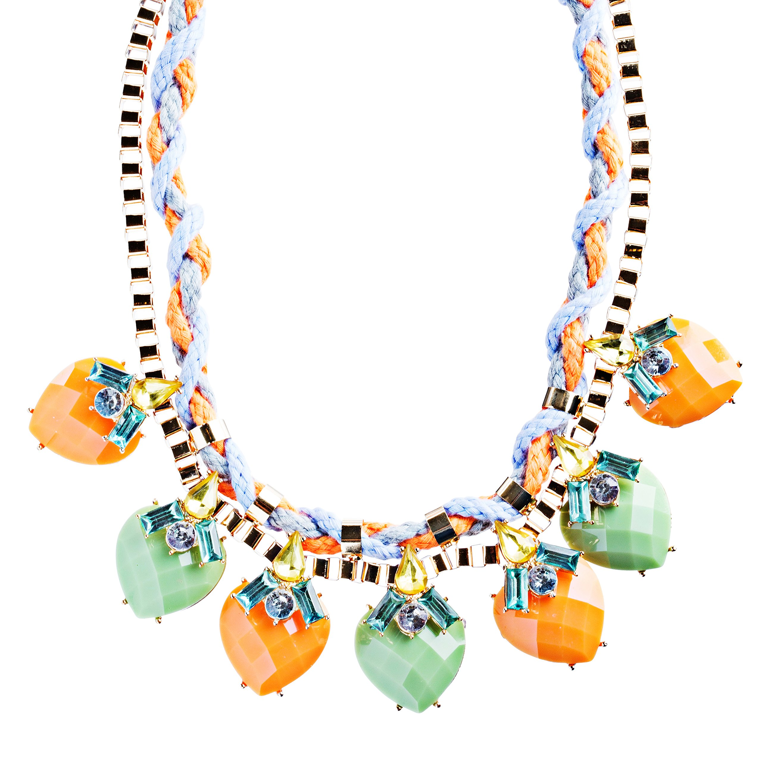 Modern Fashion Crystal Rhinestone Vibrant Heart Shape Necklace N75 Multi