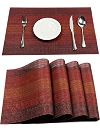 PAUWER Placemats Set Of 6 Heat Insulation Stain Resistant Placemat For  Dining Table Durable Crossweave Woven