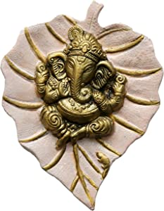 Charmy Crafts Metal Ganesha On Leaf, Wall Hanging Article for Wall Decor, Wedding Gifts, Best for Housewarming, Room Decor (Light Pink)