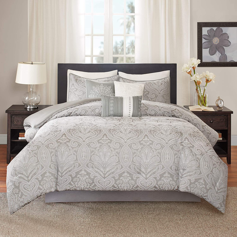 Madison Park Averly 7 Piece Comforter Set, Grey, Queen, (90