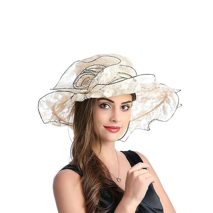 4140e70620d Dantiya Women s Floppy Wide Brim Sun Beach Hat Kentucky Derby Church Dress  Cap (Beige)