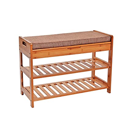 Amazoncom Unicoo Bamboo Shoe Bench Rack With Cushion Upholstered