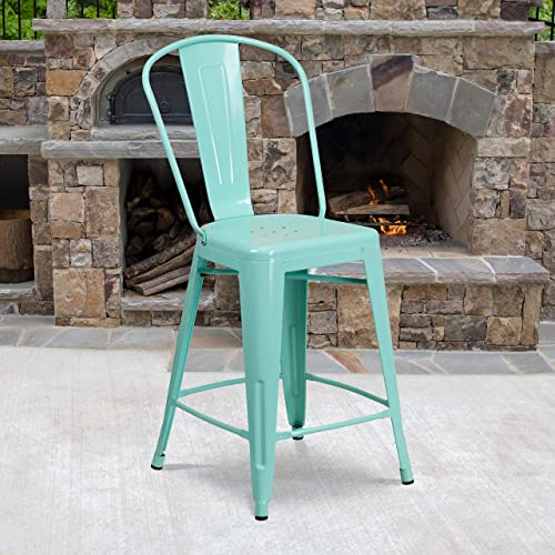 Flash Furniture Commercial Grade 24″ High Mint Green Metal Indoor-Outdoor Counter Height Stool