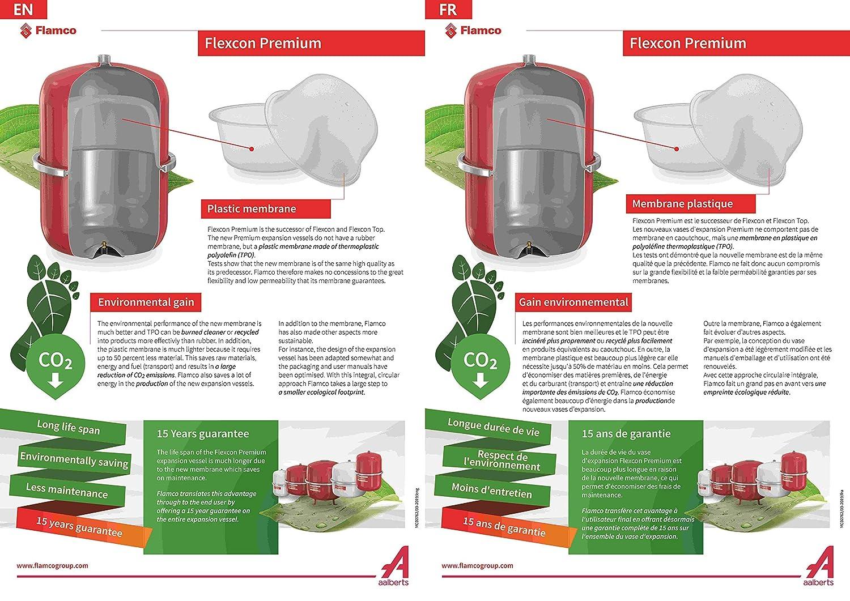 Garantie de 15 ans 3 Bar Vase dExpansion /à Membrane Fixe pour Installations en Circuit Ferm/é et de Chauffage de Climatisation et de R/éfrig/ération Flamco 16918 Flexcon Premium 18 Litres Rouge