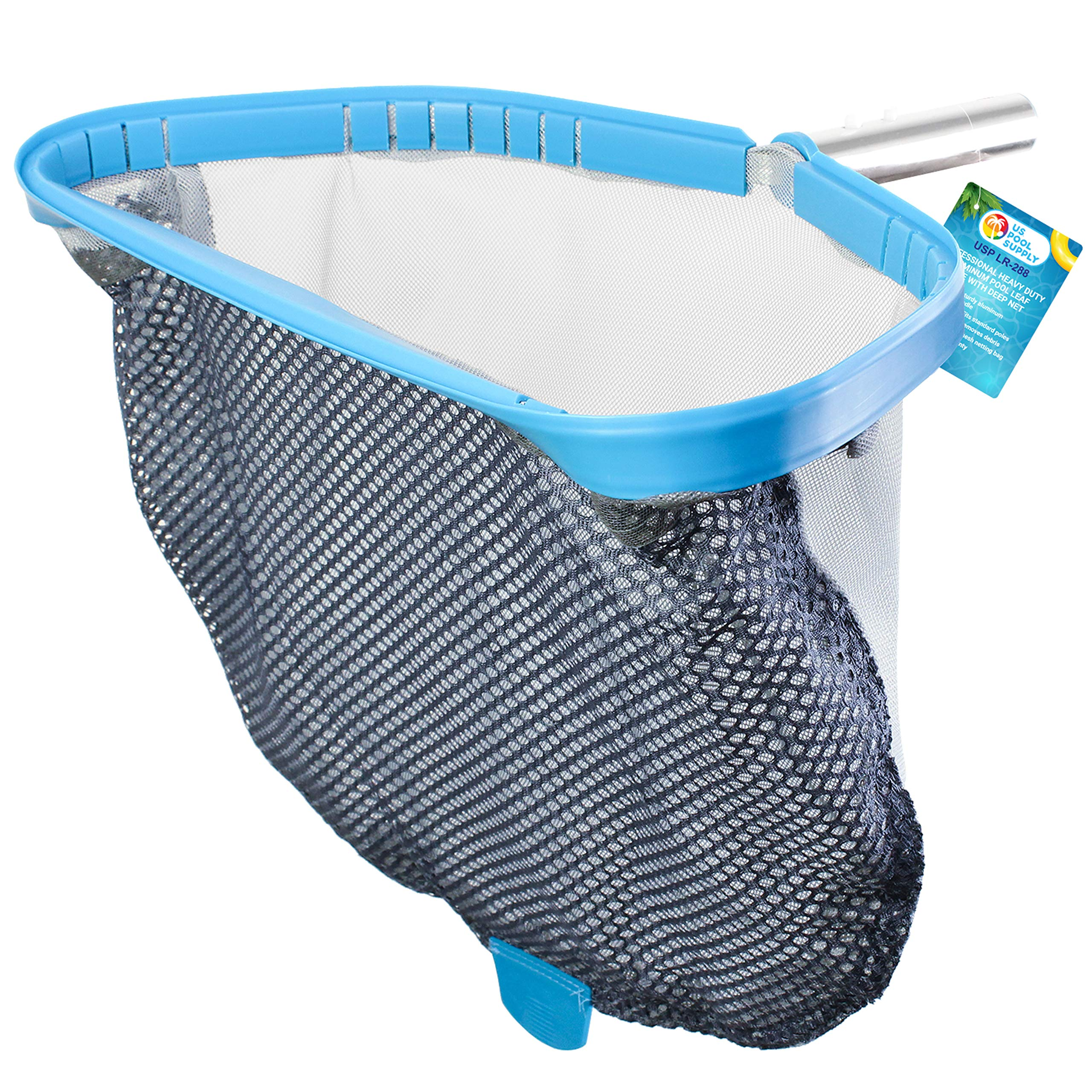 U.S. Pool Supply Professional Heavy Duty 18'' Swimming Pool Leaf Skimmer Rake with Deep Double-Stitched Net Bag - Strong Aluminum Frame for Faster Cleaning & Easier Debris Pickup and Removal by U.S. Pool Supply