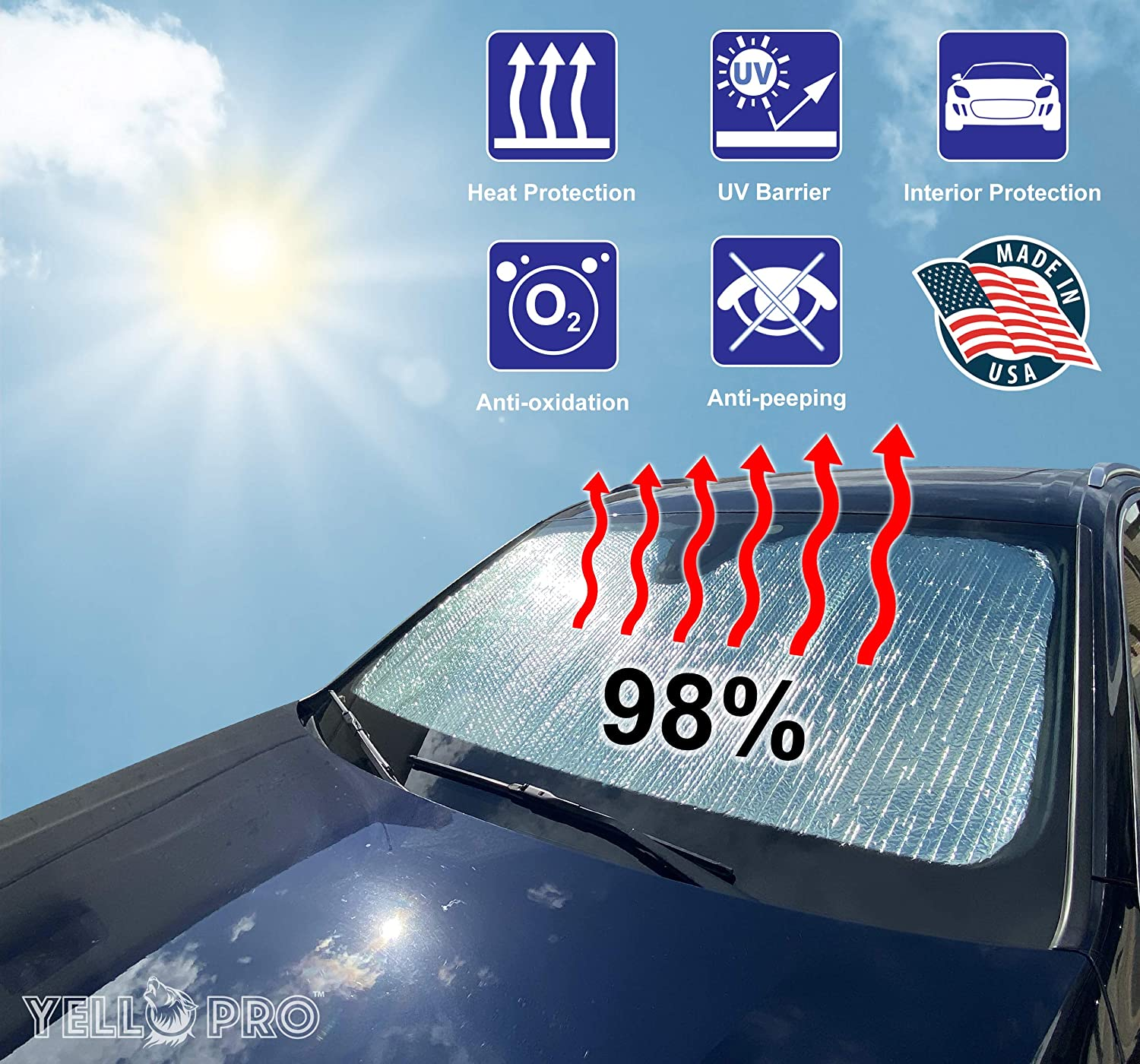 Made in USA Sun Shade Accessories YelloPro Auto Custom Fit Car Front Windshield Reflective Sunshade Protector for 2020 2021 Toyota Highlander L LE XLE Limited Platinum SUV