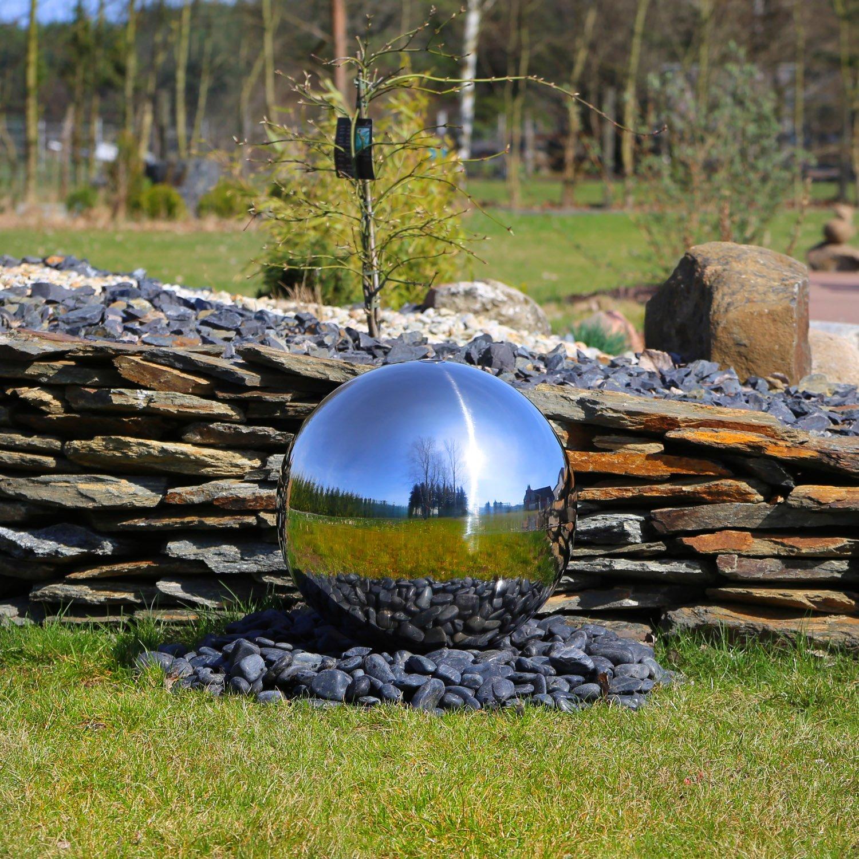 CLGarden Esfera de acero inoxidable 48cm pulido, Elemento de acero inoxidable para la fuente de jardí n ESB5 grande bola de acero pulido con 48 cm diá metro juguetes de agua Fuente de exterior