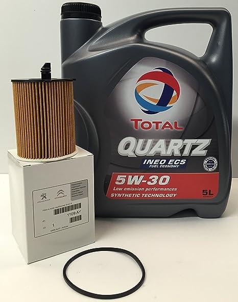Pack Total Quartz Ineo Ecs 5W30 + Filtro Aceite Original motor 1.6HDi (1109.