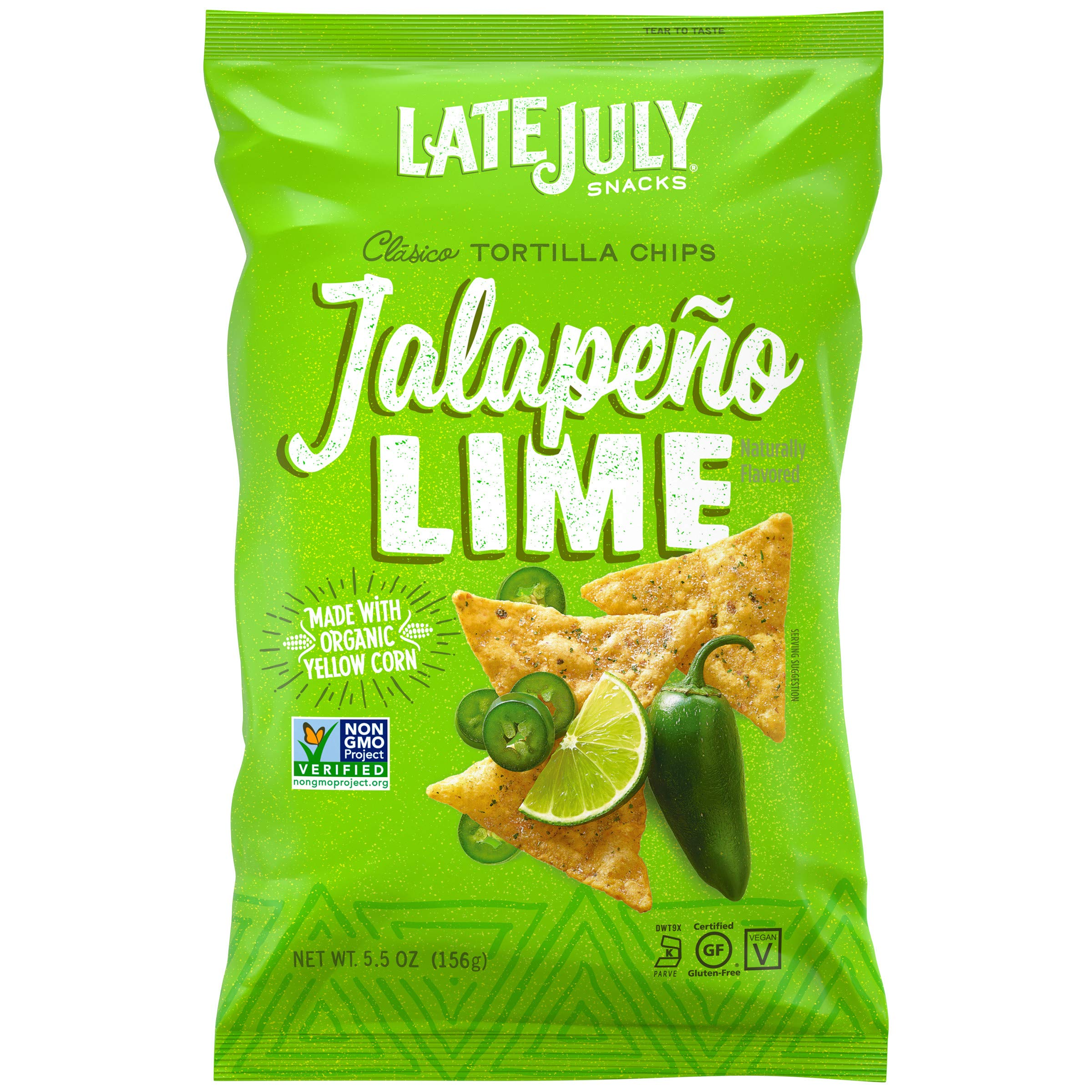 LATE JULY Snacks Clásico Jalapeño Lime Tortilla Chips, 5.5 Ounce Bag, Pack of 12 by Late July