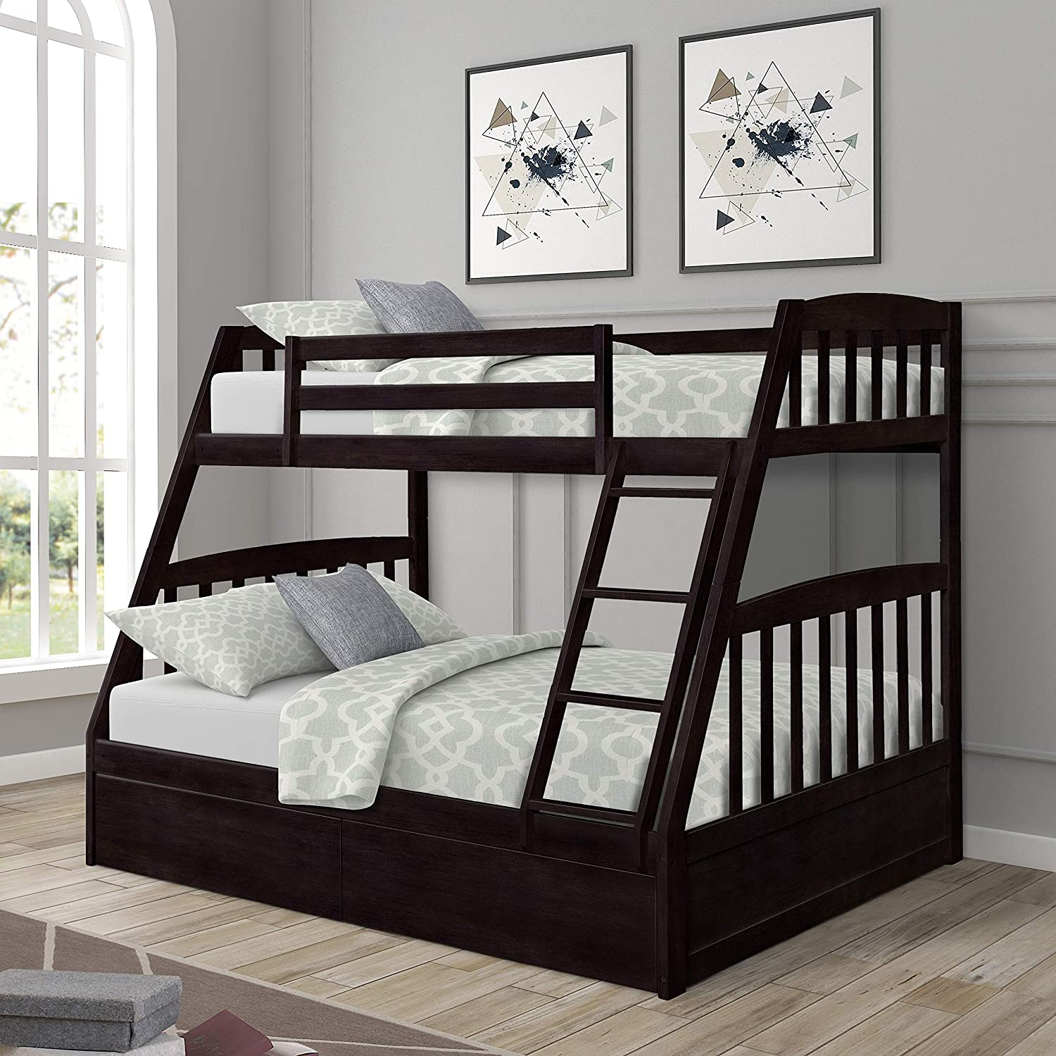 Twin Over Full Bunk Bed Solid Wood Bunk Bed with Two Storage Drawers,Safety Rail and Stair Loft,Espresso