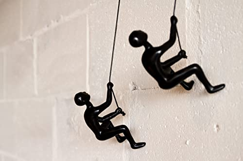 Set of 2, Climbing Man 3D Wall Art Sculpture Durable Polyresin, 30 Leathered Rope and Hanging Hardware Included, Black