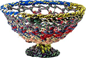 Red Co. Round Colorful Decorative Jute and Metal Wire Bowl on Pedestal Base, Fruit Server Display, 11-Inch