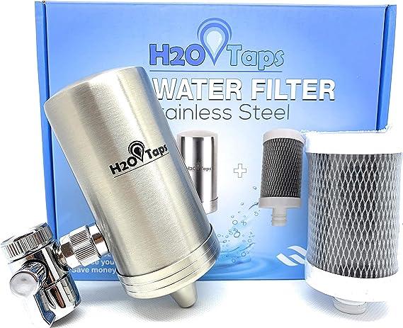 H2O Taps Filtro de Agua para Grifo | Acero Inoxidable y Diseño Elegante | Filtra Cloro, Plomo y Elimina Mal Olor y Sabor del Agua | Sistema de Filtración de Agua |