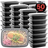 50-Pack Meal Prep Plastic Microwavable Food Containers For Meal Prepping With Lids 28 oz. 1 Compartment Black Rectangular Reusable Storage Lunch Boxes -BPA-Free Food Grade -Freezer & Dishwasher Safe