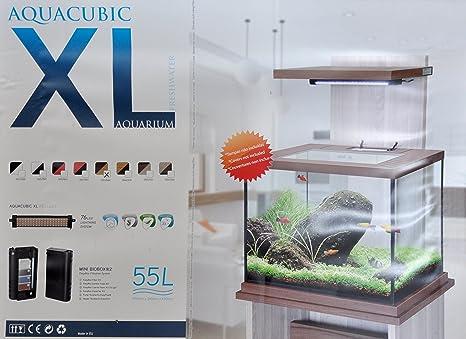 AQUACUBIC Acuario 15lt. + Mueble Marron Claro/Oscuro