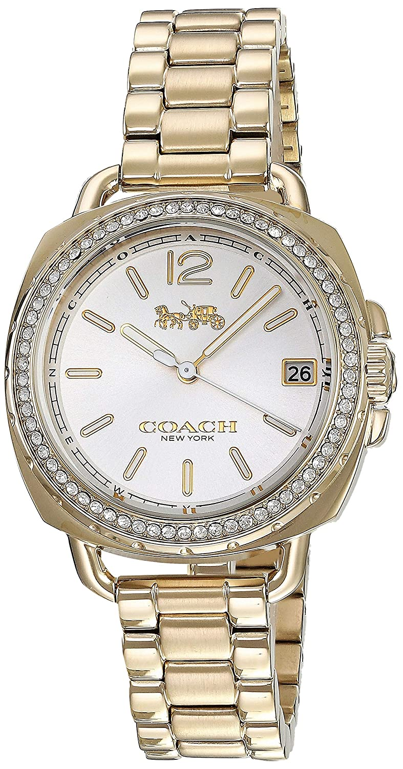 Amazon.com: Coach Womens 14502589 Tatum Gold Tone Stainless Crystal Glitz Watch: Watches