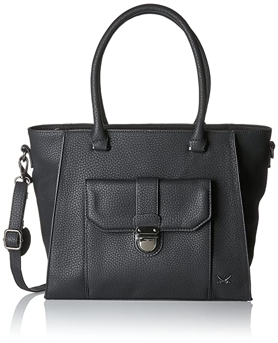 Shopper Bag, Womens Satchel, Schwarz (Black), 16x29x33 cm (B x H T) Sansibar
