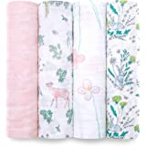 aden + anais Classic Swaddle Baby Blanket, 100% Cotton Muslin, Large 47 X 47 inch, 4 Pack, Forest Fantasy