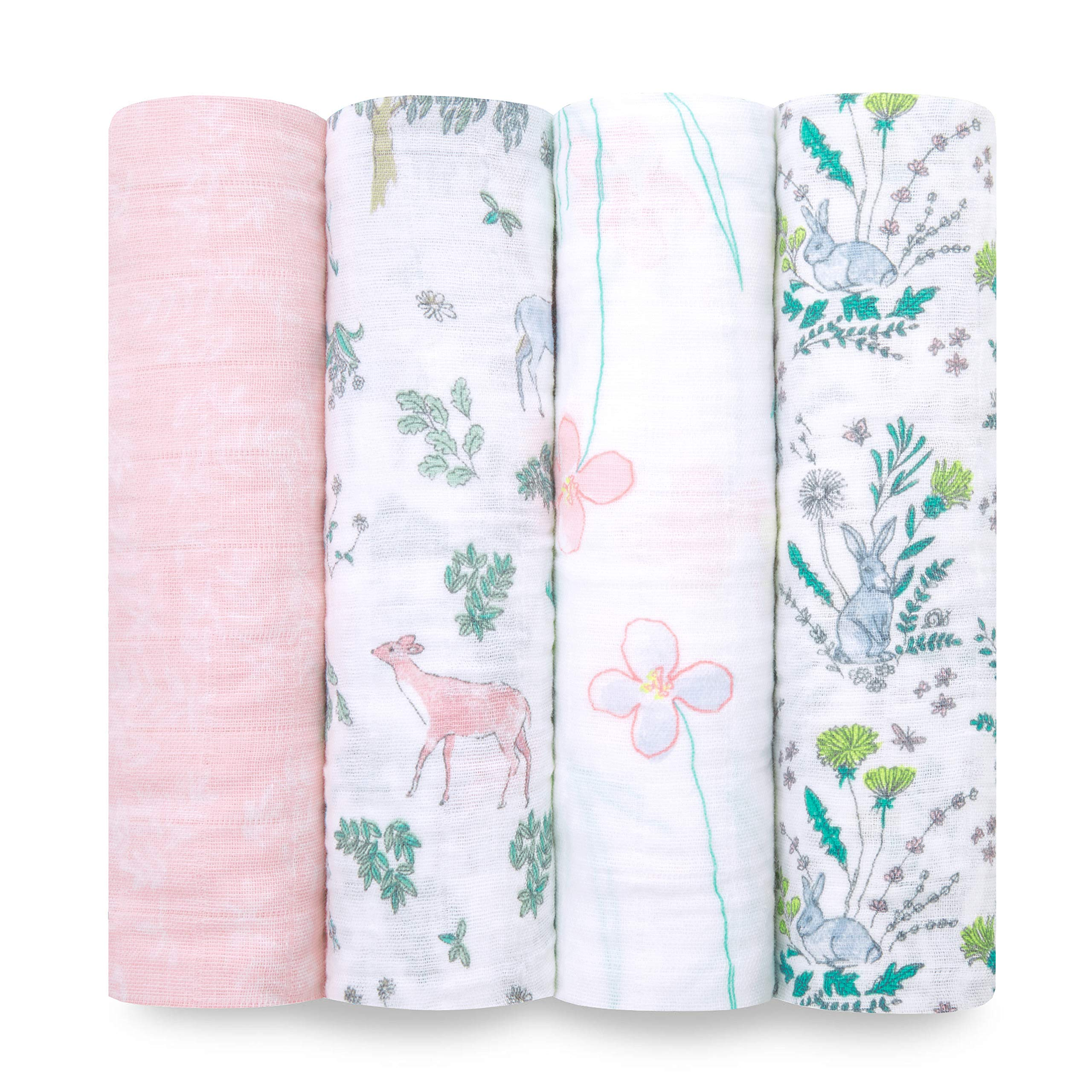 aden + anais Swaddle Blanket | Boutique Muslin Blankets for Girls & Boys | Baby Receiving Swaddles | Ideal Newborn & Infant Swaddling Set | Perfect Shower Gifts, 4 Pack, Forest Fantasy by aden + anais