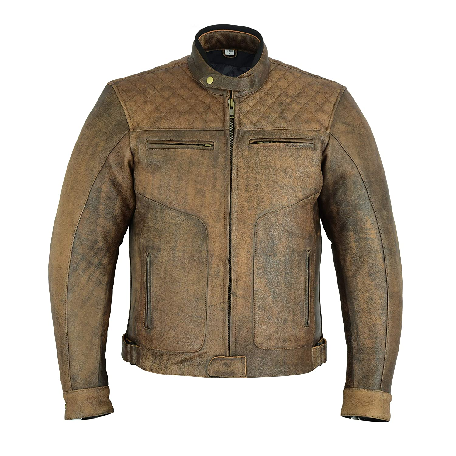 Sizes M to 5XL Texpeed Armoured Brown Leather Diamond Stitched Motorcycle//Motorbike Jacket