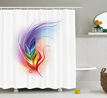 Ambesonne Rainbow Shower Curtain Feather Drawn In An Artistic Manner Cool Smooth Color Transition