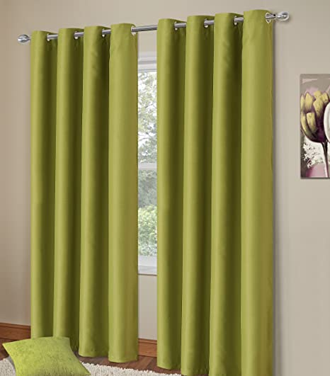 Home Bedding Store Thermal Blackout Ringtop Eyelet Curtains 64 X 90 Curtain Pair Green Manhattan Super