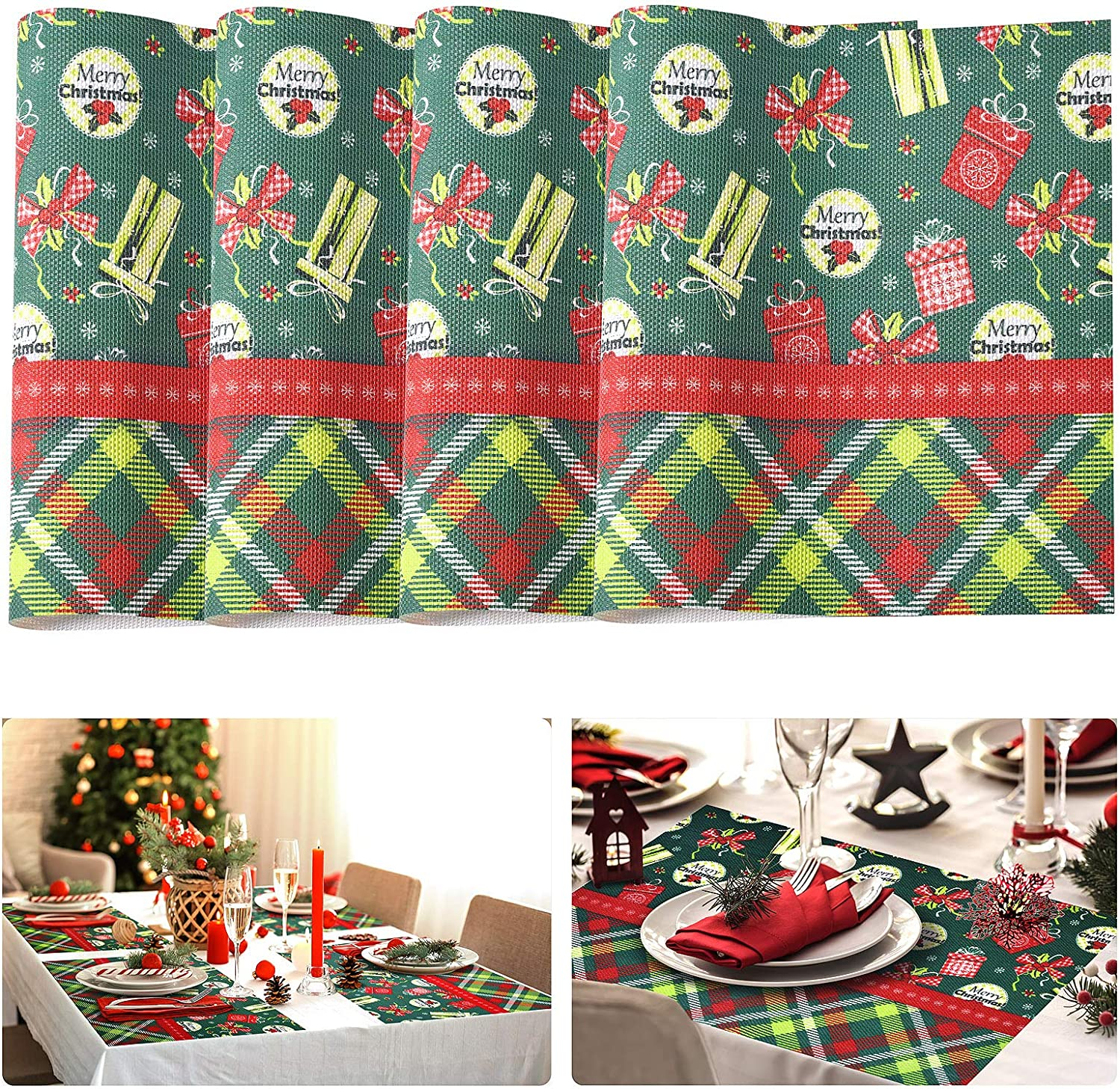 Tohsssik Christmas Placemats Set of 4, Placemats for Dining Table Box Printed, Non-Slip Place Mats Holiday Christmas Table Decorations, 17.7 x 11.8 Inch