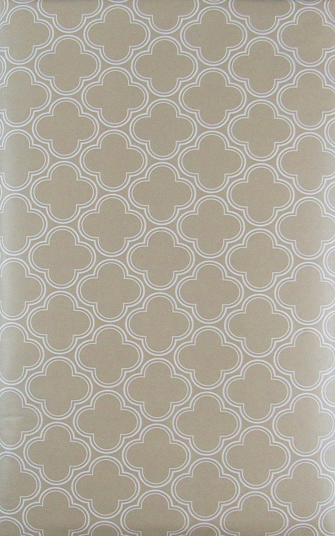 Quatrefoil Geometric Clovers Vinyl Flannel Back Tablecloth Pale Aqua, 52 x 90 Oblong
