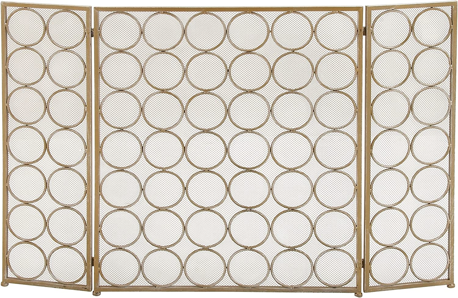 "Large 3-Panel Silver Metal Fireplace Screen, Decorative Fire Screen, Fireplace Screen with Metal Circle Pattern, Modern Accent Furniture, 47"" x 32"""