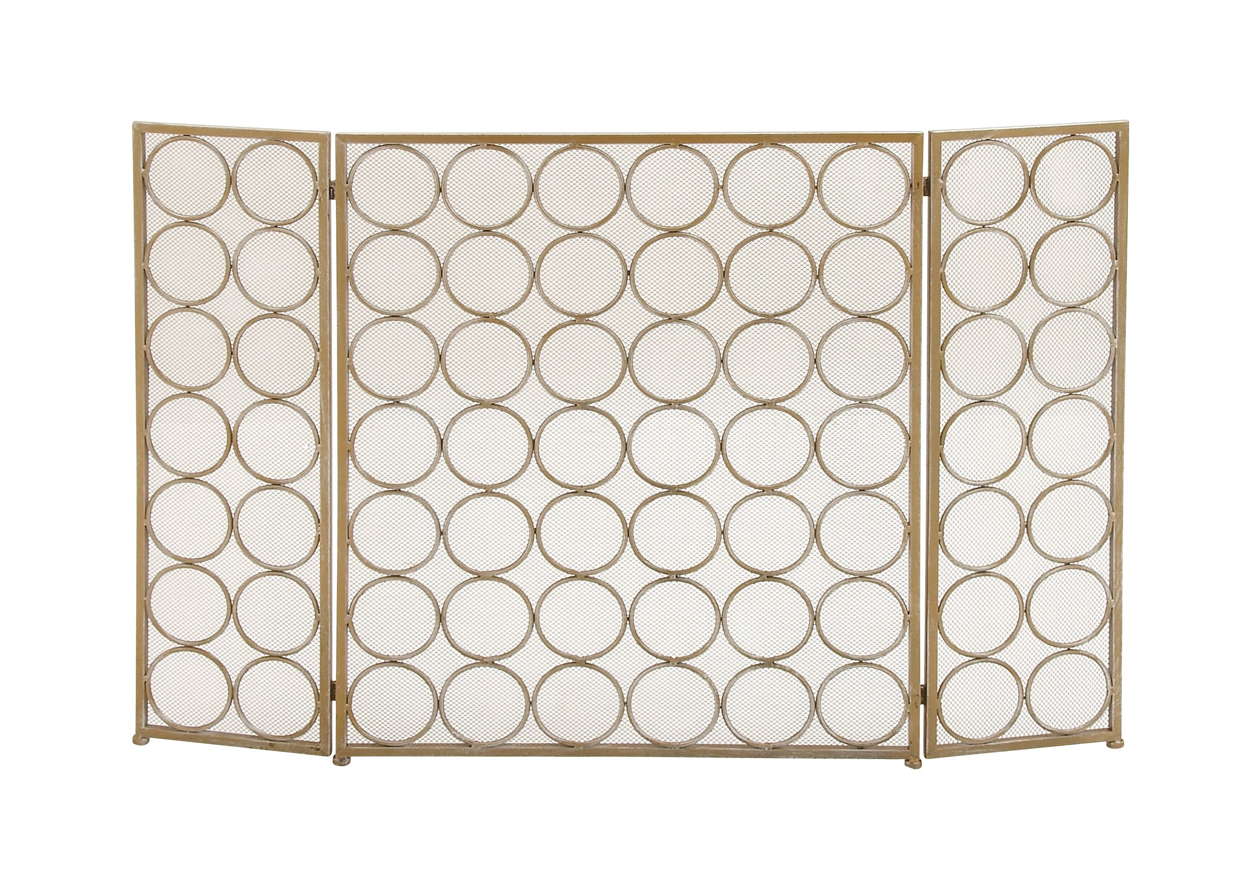 Deco 79 Modern 3-Panel Metal Fire Screen, 32'' H x 47'' L, Textured Gold Finish by Deco 79