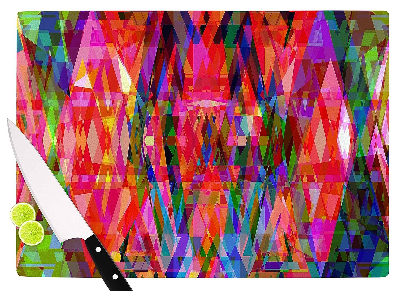 11.5 x 8.25 KESS InHouse SC2207ACB01 Suzanne CarterGeo-Prism Red Blue Cutting Board Multi