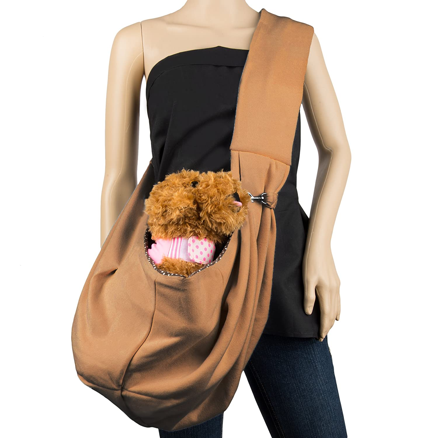 Cue Cue Pet's 100% Plush Cotton Reversible Pet Sling Carrier Suitable for Small to Medium Sized Dogs, Cats, Rabbits, Pet's Pet' s