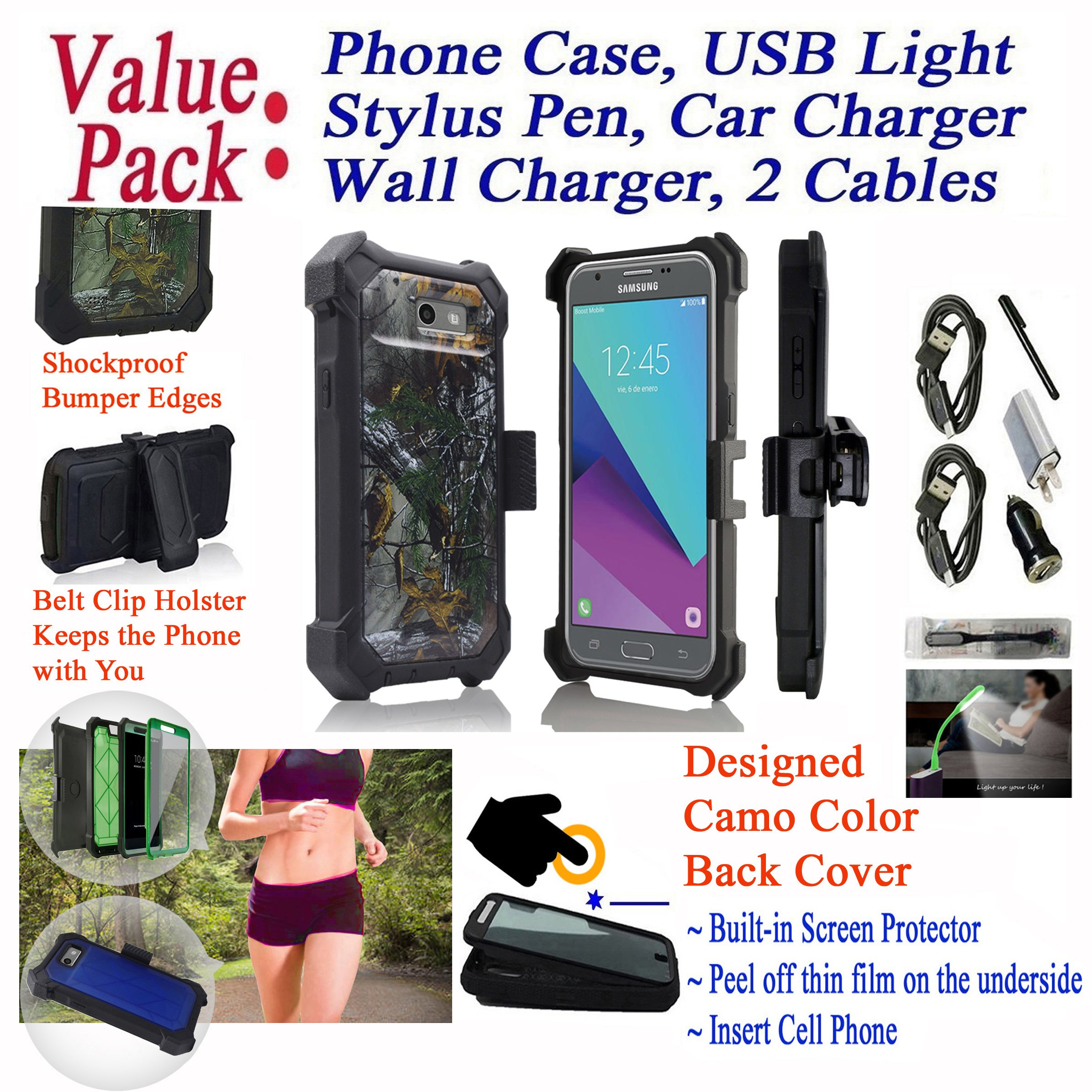 Value Pack + for 5'' Samsung Galaxy J3 Luna Pro ECLIPSE Mission Case Crystal Holster Phone Case 360° Cover Screen Protector Kickstand Shock Bumper (Camo Woods)
