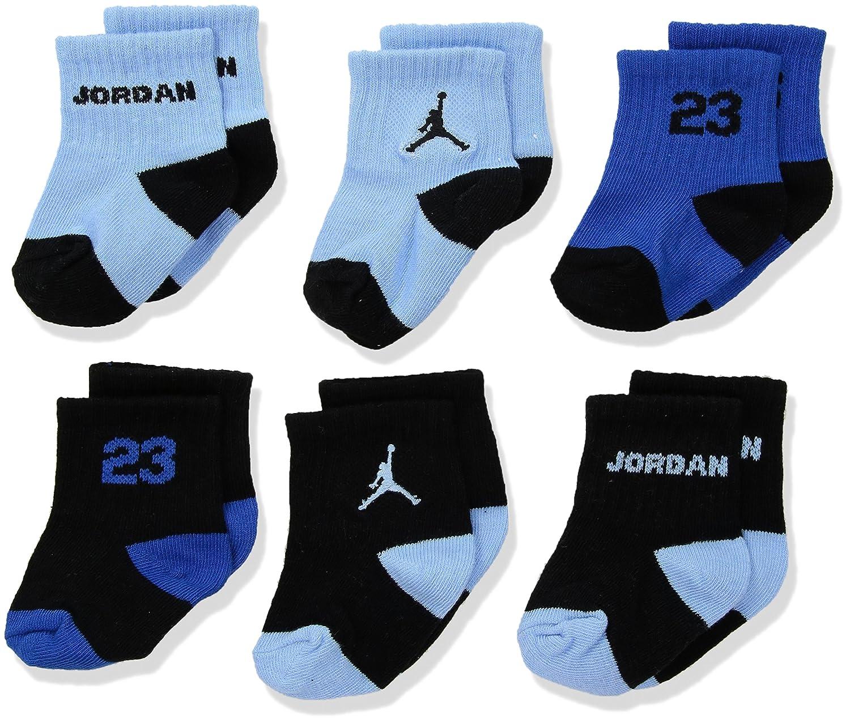 Nike Air Jordan bebé recién nacido calcetines azul, Cartucho negro, 6 pares, tamaño 06 - 12 meses: Amazon.es: Deportes y aire libre