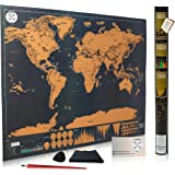 """Scratch Off Map of the World for Travelers - Elegant Gold Foil on Black Travel Tracker Map of the World Poster Where You've Been - Deluxe Gift Edition Large 32""""x 23"""" with Tube Included By Be Strongest"""
