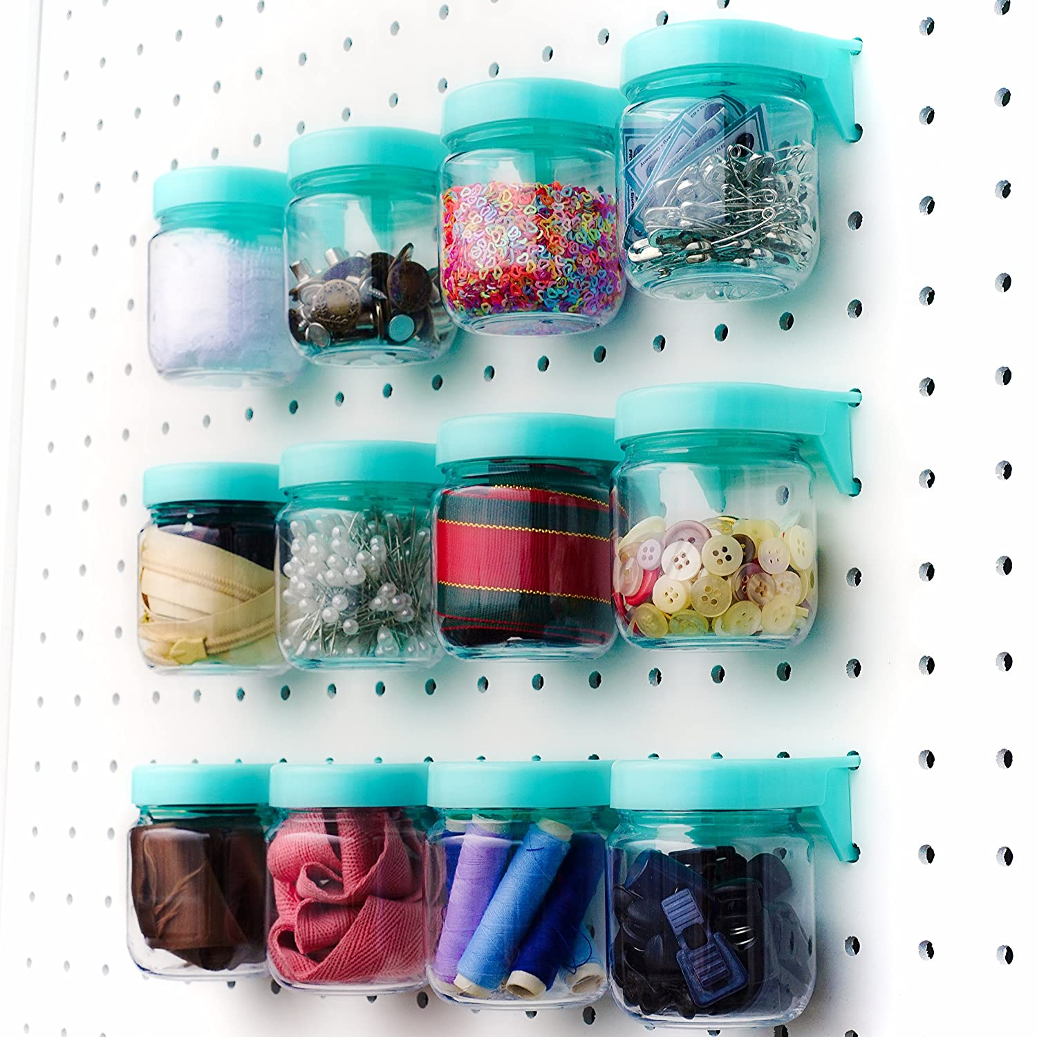 Crush /& Impact Resistant Plastic Pegboard Jars Peg Board Attachments for Craft Set of 6 Tall Pegboard Accessories Organizer Storage Jars Large Size 2 x 4 Blue Sewing /& Garage Storage