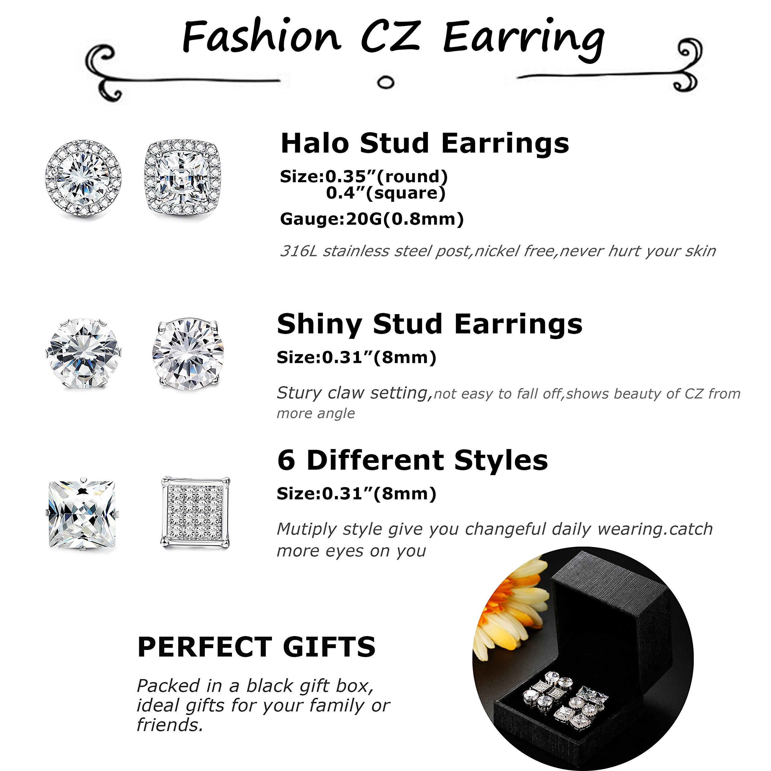 Jstyle Halo Cubic Zirconia Stud Earrings for Women Girls Clear CZ Round Square Stud Earrings Set Ear Jewelry by Jstyle (Image #2)